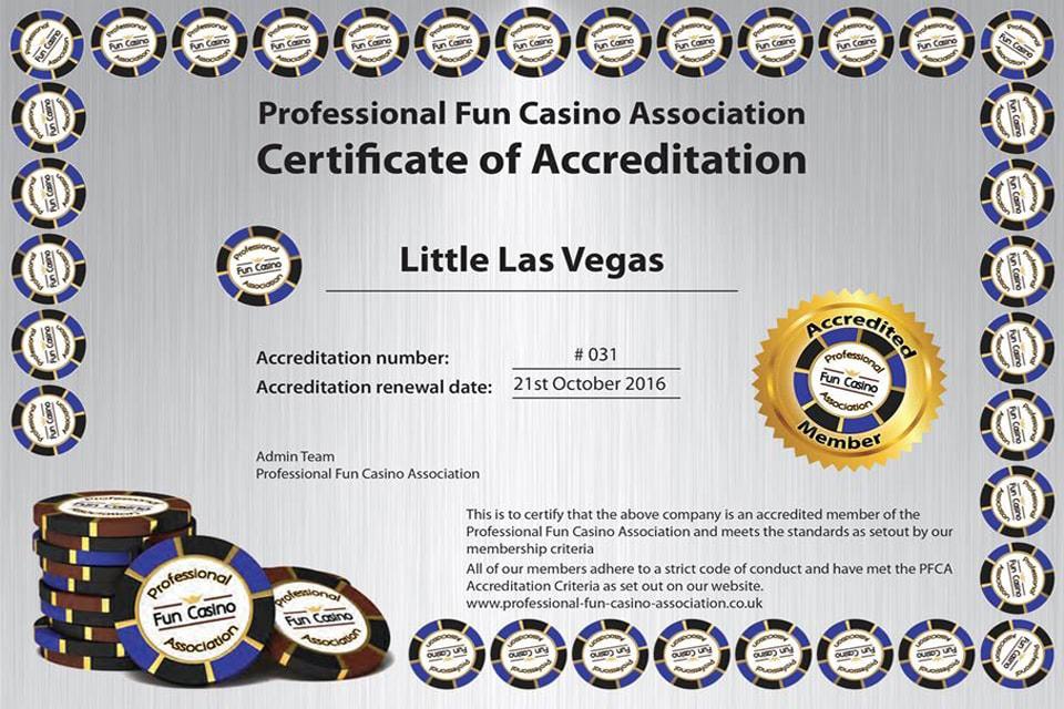 Little Las Vegas Certificate